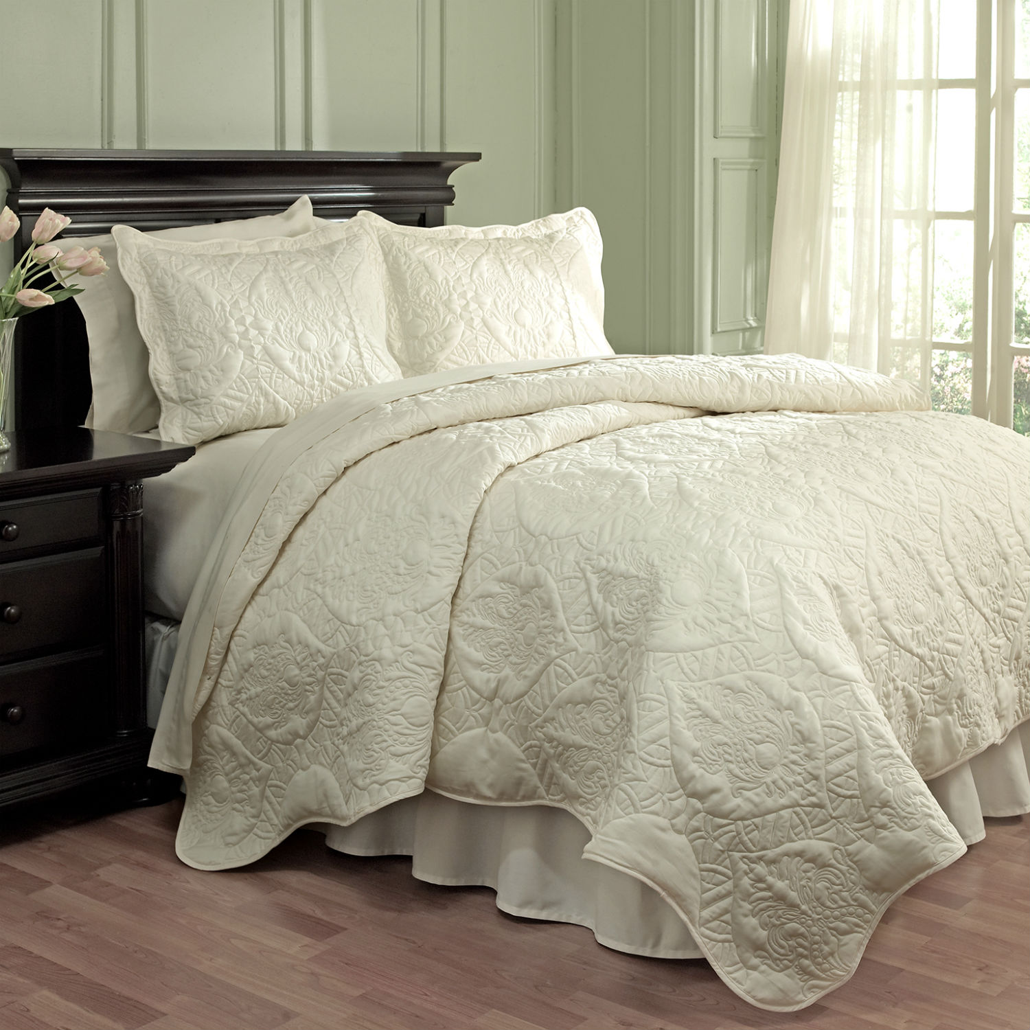 Dressed Up Damask Taupe by Waverly Bedding - BeddingSuperStore.com